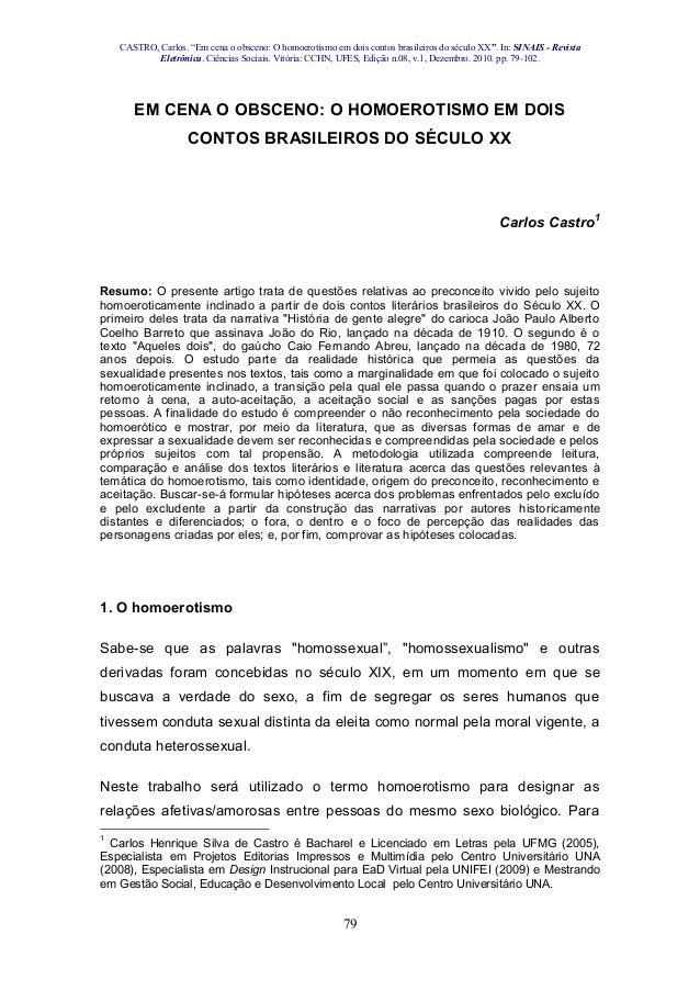 """CASTRO, Carlos. """"Em cena o obsceno: O homoerotismo em dois contos brasileiros do século XX"""". In: SINAIS - Revista Eletrôni..."""