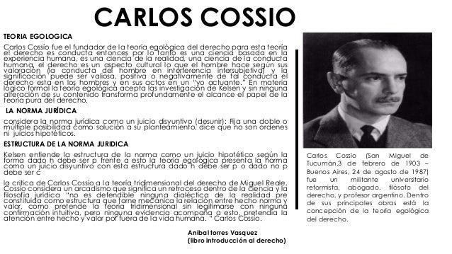 CARLOS COSSIO TEORIA EGOLOGICA Carlos Cossío fue el fundador de la teoría egológica del derecho para esta teoría el derech...