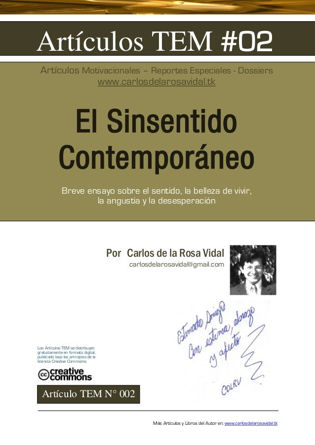 Artículos TEM #02 Artículos Motivacionales – Reportes Especiales - Dossiers              www.carlosdelarosavidal.tk       ...