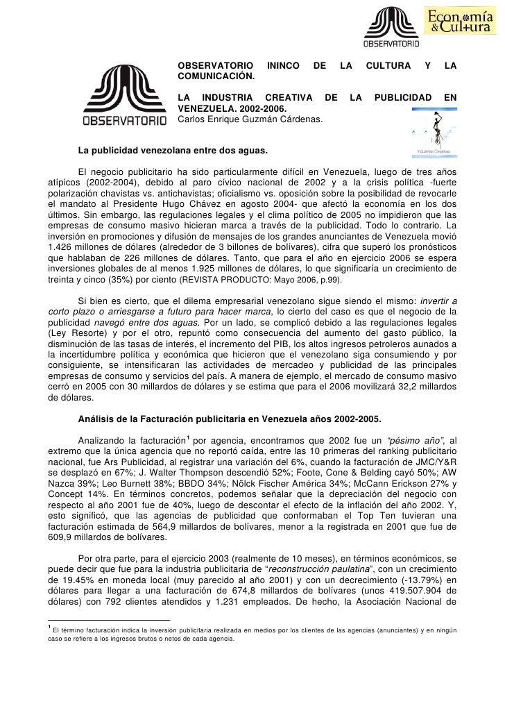 OBSERVATORIO                  ININCO         DE       LA       CULTURA            Y     LA                                ...