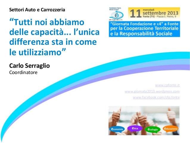 """www.cpfonte.it www.giornata2013.wordpress.com www.facebook.com/cfp.fonte Settori Auto e Carrozzeria """"Tutti noi abbiamo del..."""
