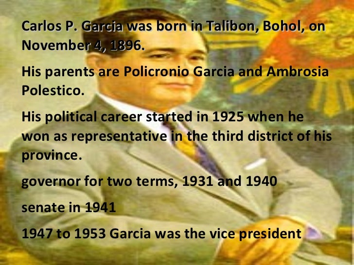 carlos p garcia accomplishments