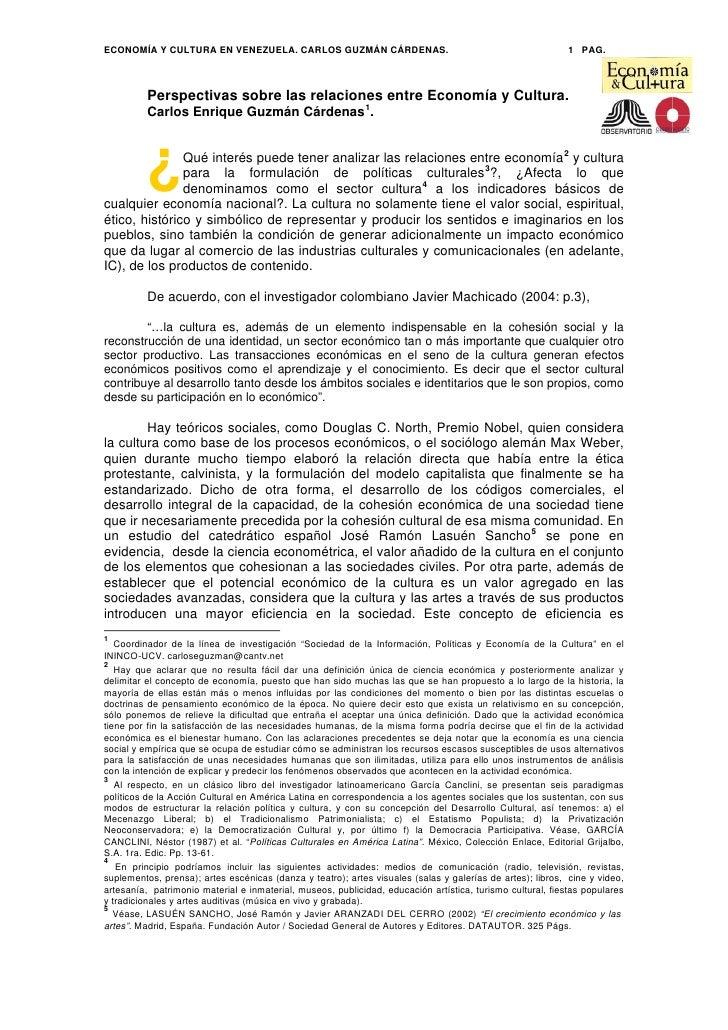 ECONOMÍA Y CULTURA EN VENEZUELA. CARLOS GUZMÁN CÁRDENAS.                                                    1 PAG.        ...