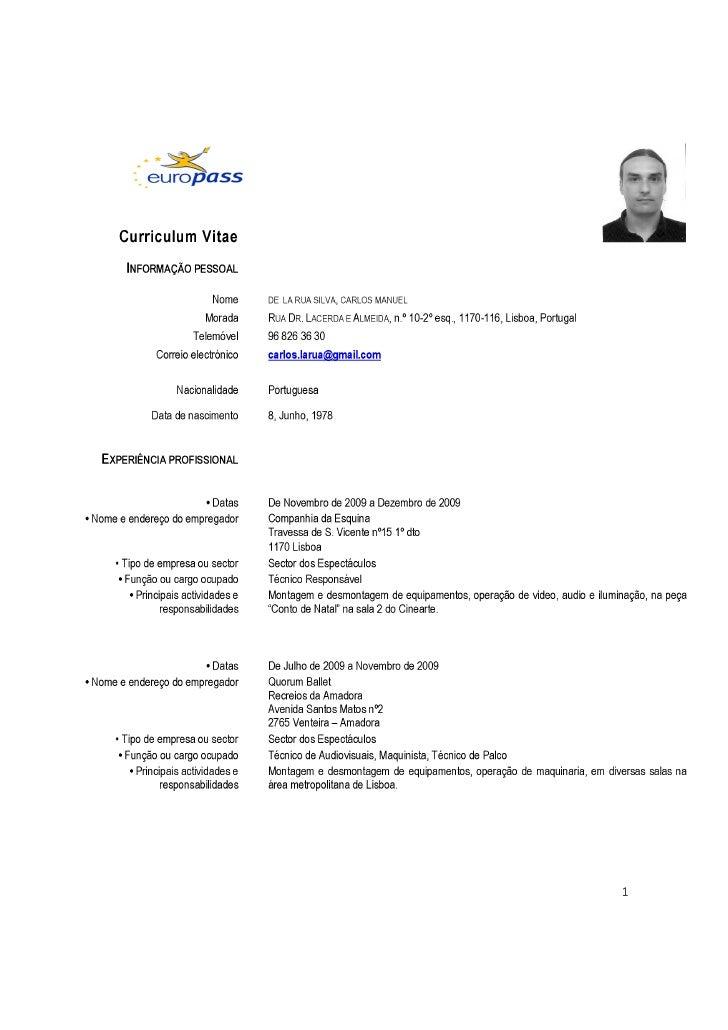 Carlos La Rua Curriculum Vitae