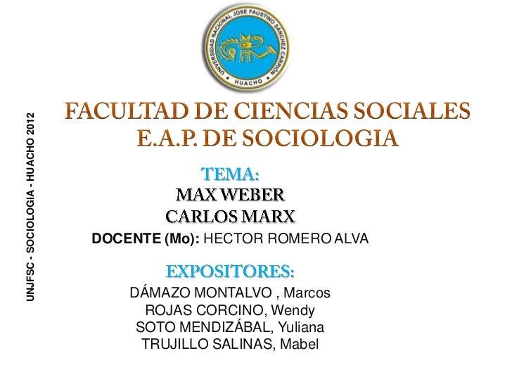 UNJFSC - SOCIOLOGIA - HUACHO 2012                                    DOCENTE (Mo): HECTOR ROMERO ALVA                     ...