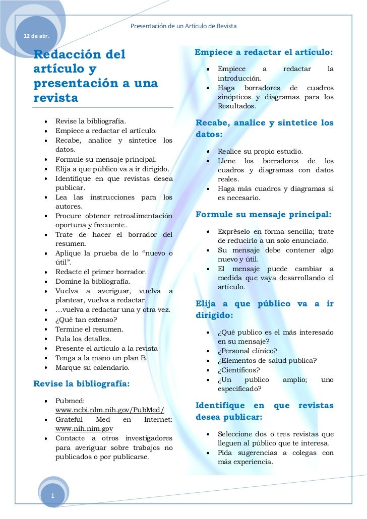 Presentación de un Artículo de Revista12 de abr.   Redacción del                                              Empiece a re...