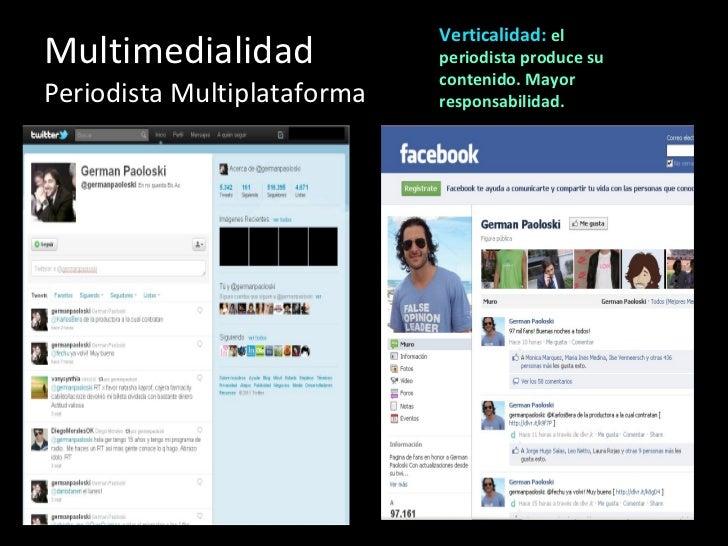 Multimedialidad Periodista Multiplataforma Verticalidad:  el periodista produce su contenido. Mayor responsabilidad.
