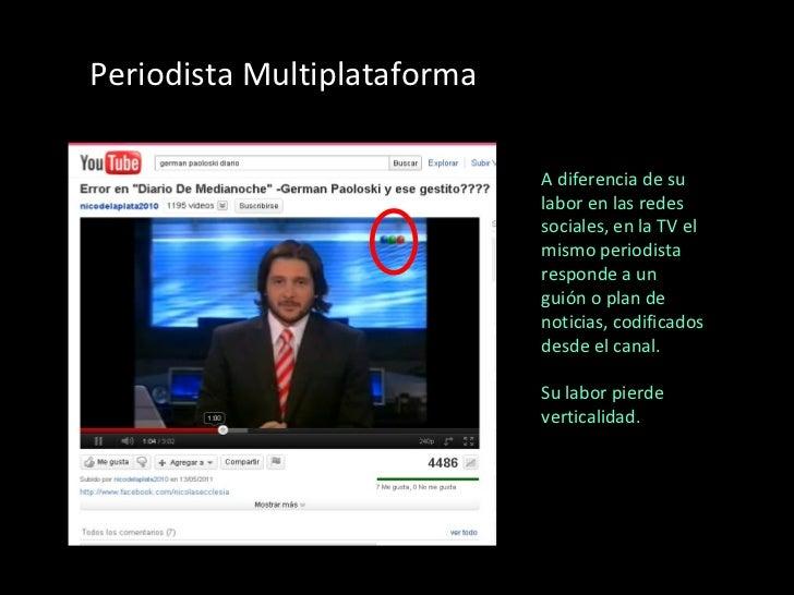 Periodista Multiplataforma A diferencia de su labor en las redes sociales, en la TV el mismo periodista responde a un guió...