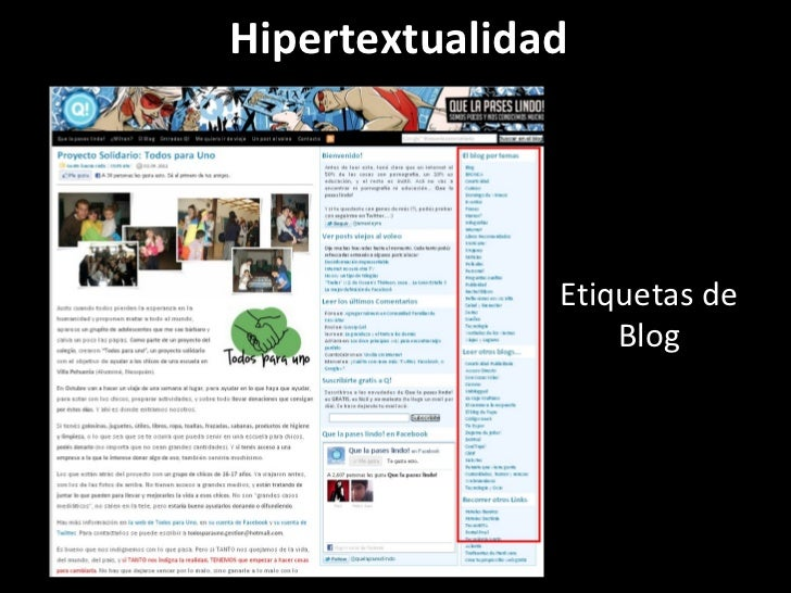 Hipertextualidad Etiquetas de Blog