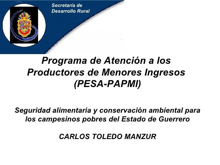 Secretaría de Desarrollo Rural Programa de Atención a los  Productores de Menores Ingresos   (PESA-PAPMI) Seguridad alimen...