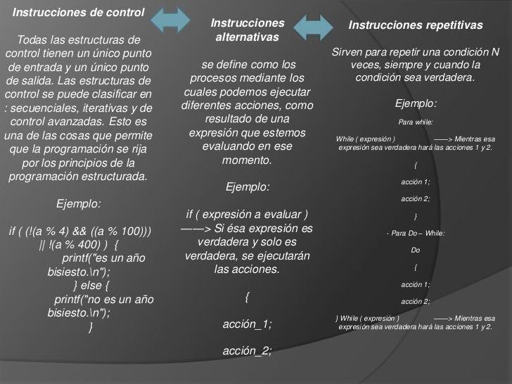 Instrucciones de control                                          Instrucciones              Instrucciones repetitivas   T...