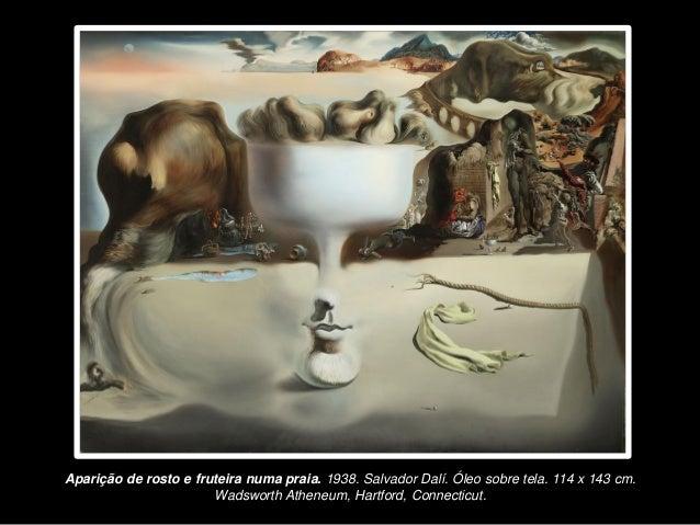 Aparição de rosto e fruteira numa praia. 1938. Salvador Dalí. Óleo sobre tela. 114 x 143 cm.  Wadsworth Atheneum, Hartford...