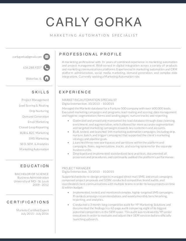 marketing automation specialist resume carly gorka