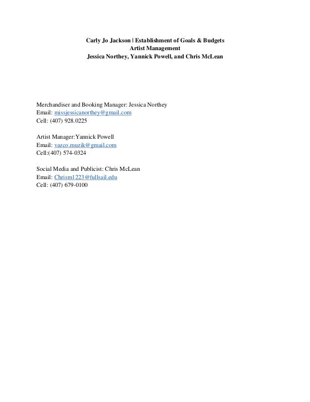 Carly Jo Jackson | Establishment of Goals & Budgets                                   Artist Management                   ...