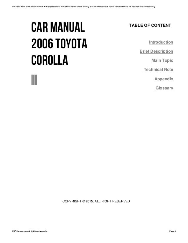 Car manual 2006 toyota corolla