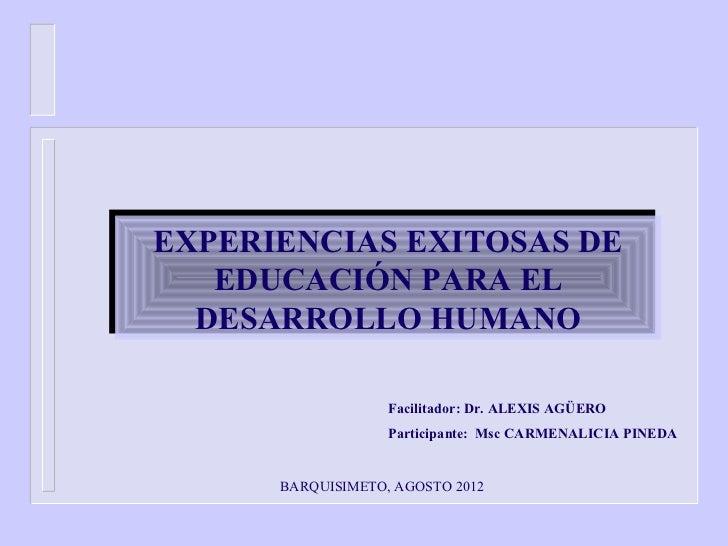 EXPERIENCIAS EXITOSAS DEEXPERIENCIAS EXITOSAS DE   EDUCACIÓN PARA EL   EDUCACIÓN PARA EL  DESARROLLO HUMANO  DESARROLLO HU...