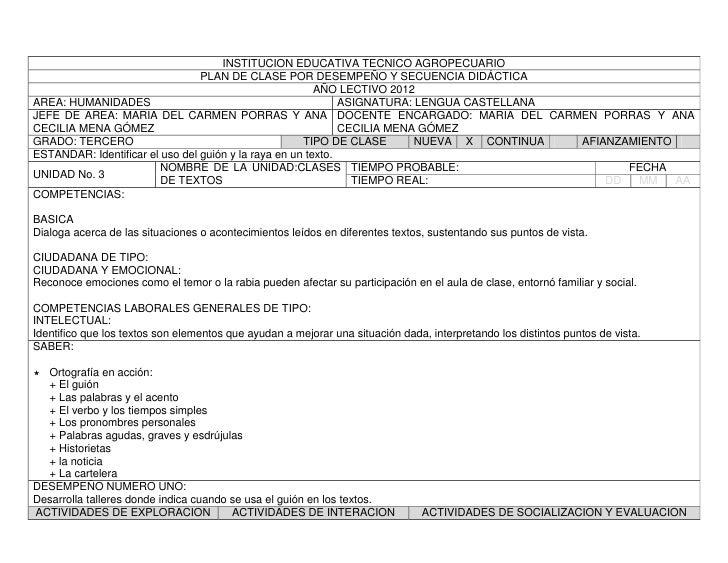 INSTITUCION EDUCATIVA TECNICO AGROPECUARIO                                 PLAN DE CLASE POR DESEMPEÑO Y SECUENCIA DIDÁCTI...