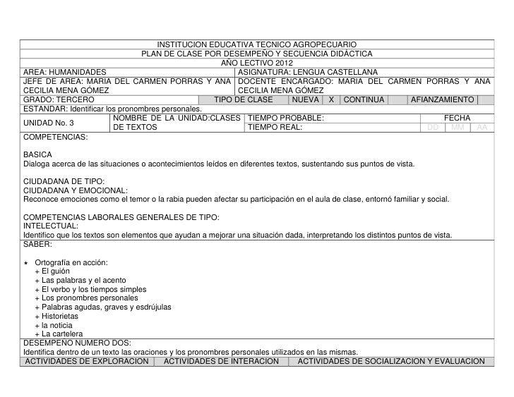 INSTITUCION EDUCATIVA TECNICO AGROPECUARIO                                PLAN DE CLASE POR DESEMPEÑO Y SECUENCIA DIDÁCTIC...