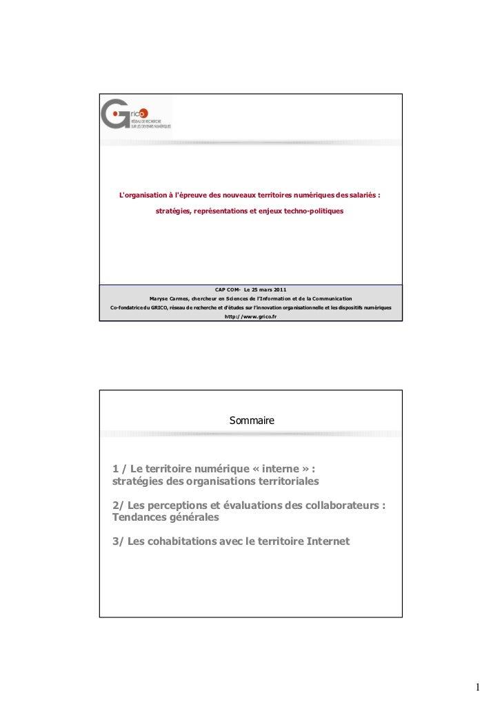 Lorganisation à lépreuve des nouveaux territoires numériques des salariés :                   stratégies, représentations ...