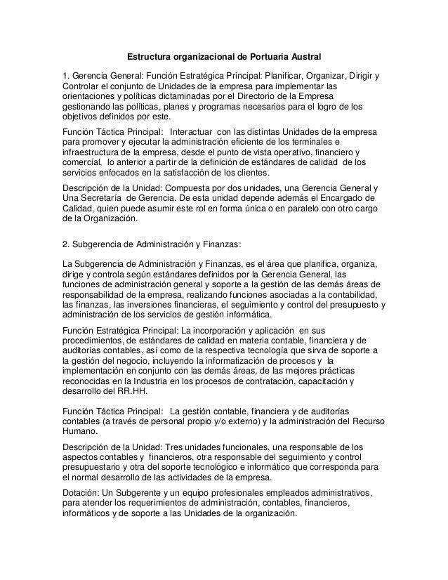 Estructura organizacional de Portuaria Austral 1. Gerencia General: Función Estratégica Principal: Planificar, Organizar, ...