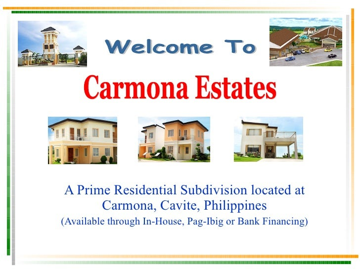 A Prime Residential Subdivision located at Carmona, Cavite, Philippines (Available through In-House, Pag-Ibig or Bank Fina...