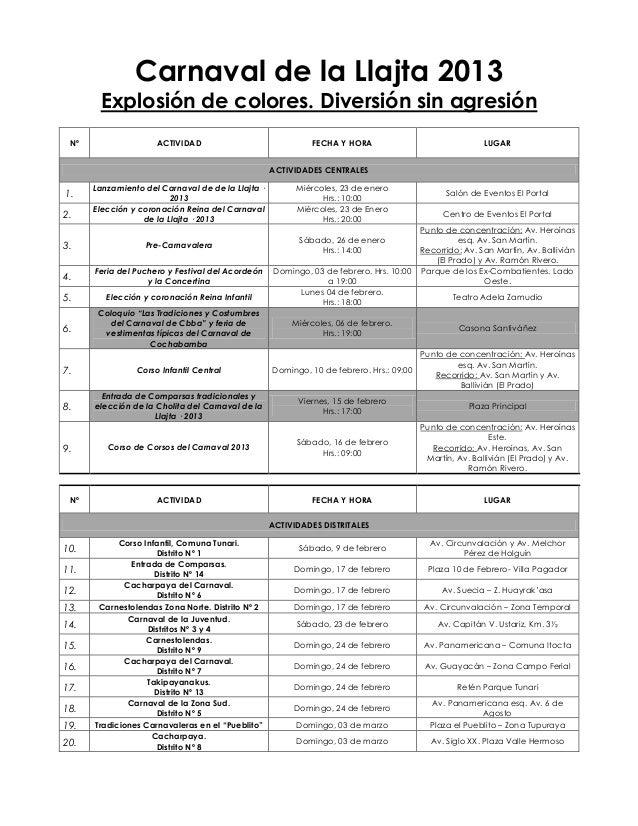 Carnaval de la Llajta 2013       Explosión de colores. Diversión sin agresión Nº                  ACTIVIDAD               ...
