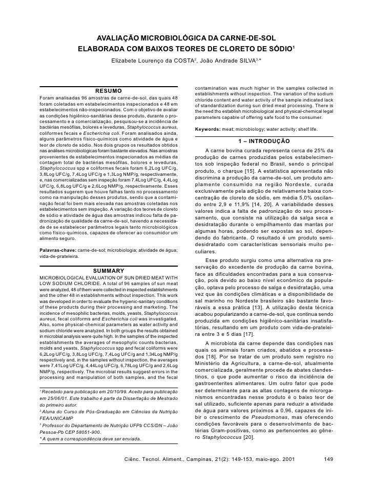 AVALIAÇÃO MICROBIOLÓGICA DA CARNE-DE-SOL                    ELABORADA COM BAIXOS TEORES DE CLORETO DE SÓDIO1              ...