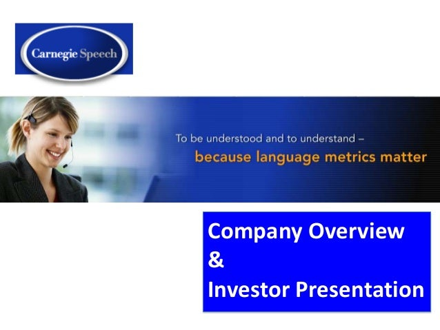 Company Overview&Investor Presentation