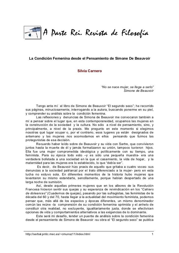 La Condición Femenina desde el Pensamiento de Simone De Beauvoir                                     Silvia Carnero       ...