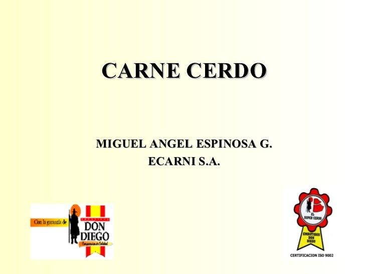 <ul><li>CARNE CERDO </li></ul><ul><li>MIGUEL ANGEL ESPINOSA G. </li></ul><ul><li>ECARNI S.A. </li></ul>