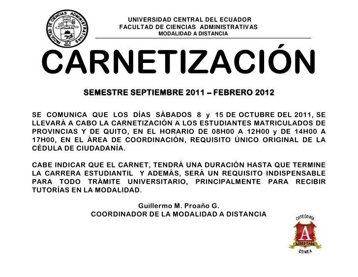 UNIVERSIDAD CENTRAL DEL ECUADOR                   FACULTAD DE CIENCIAS ADMINISTRATIVAS                             MODALID...