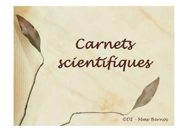 Carnetsscientifiques         ©DI - Mme Bernos