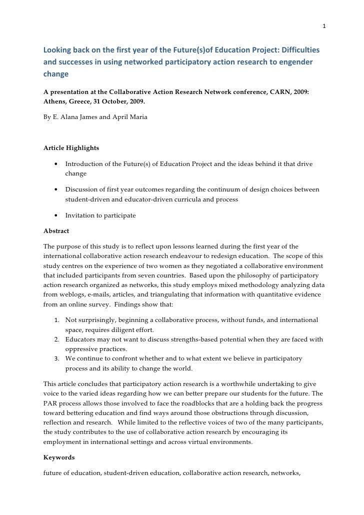 Action research report james parmenter