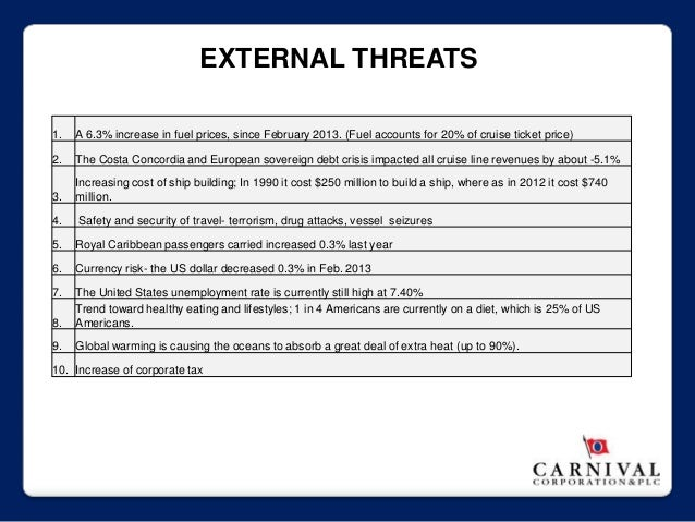 carnival swot Carnival corporate level strategy uploaded by  carnival should differentiate its service to customers by stressing the  royal caribbean cruises swot analysis.
