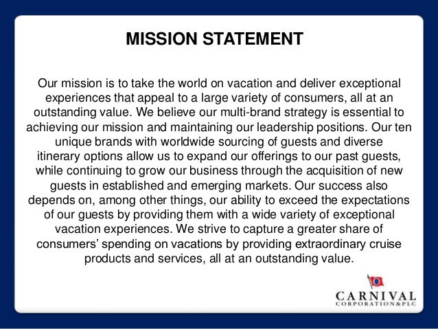 carnival internal analysis Carnival cruise lines (ccl) is the leader of an industry experiencing growth in both capacity and customer base the company is fiscally sound and positioned to capitalize on the external opportunities currently carnival and two other large cruise lines, princess and royal caribbean, dominate the industry.