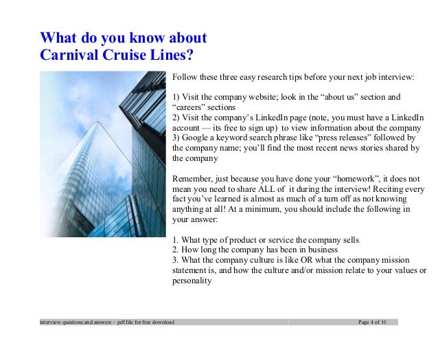 Carnival cruise lines interview questions and answers