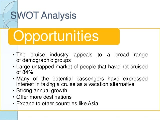 cruise industry swot The cruise industry's perception of economic risk wendy r london ab, msls include cruise industry representatives 41 the swot analysis matrix.