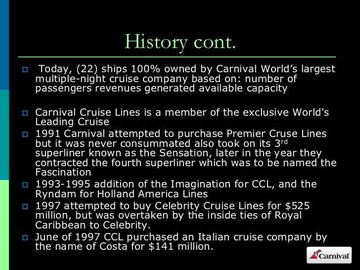 Carnival Cruise Lines - Carnival cruise ship history