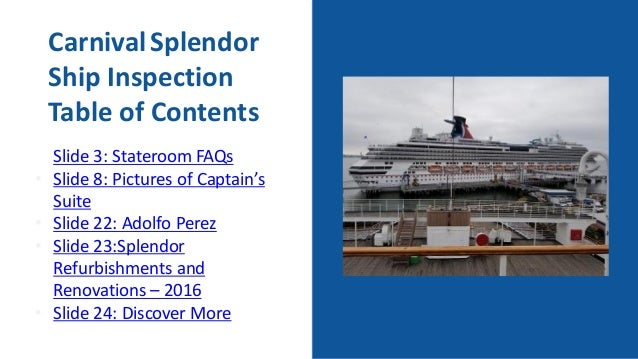 carnival splendor ship inspection slideshow