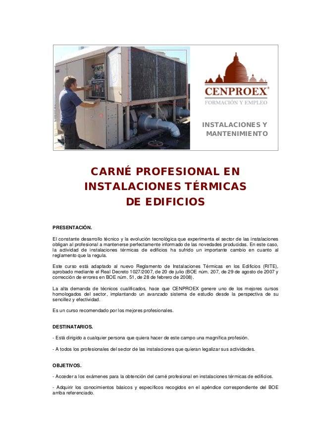 INSTALACIONES Y                                                                         MANTENIMIENTO                CARNÉ...