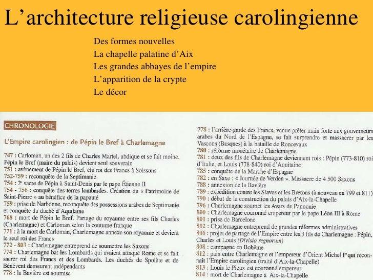 L'architecture religieuse carolingienne Des formes nouvelles La chapelle palatine d'Aix Les grandes abbayes de l'empire L'...