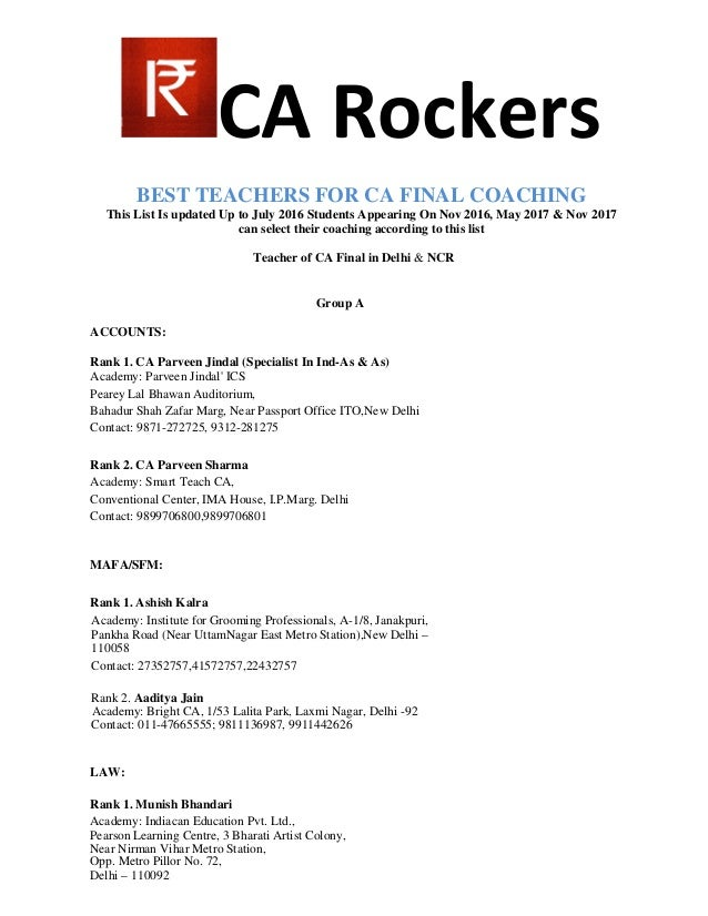 CA Rockers BEST TEACHERS FOR CA FINAL COACHING This List Is updated Up to July 2016 Students Appearing On Nov 2016, May 20...