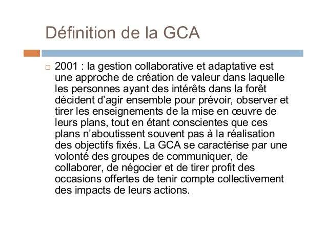 Définition de la GCA 2001 : la gestion collaborative et adaptative estune approche de création de valeur dans laquelleles...