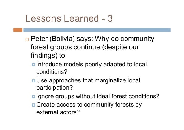Lessons Learned - 5 Yanti (Indonesia) stresses importance ofidentifying conditions that support (or create)what we seek t...