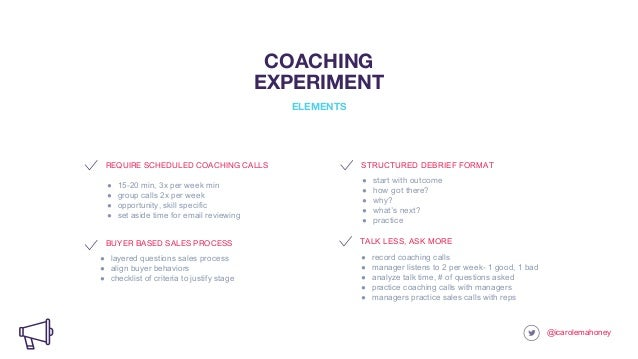 REQUIRE SCHEDULED COACHING CALLS ● 15-20 min, 3x per week min ● group calls 2x per week ● opportunity, skill specific ● se...