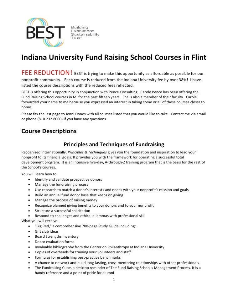 Indiana University Fund Raising School Courses in Flint FEE REDUCTION! BEST is trying to make this opportunity as affordab...