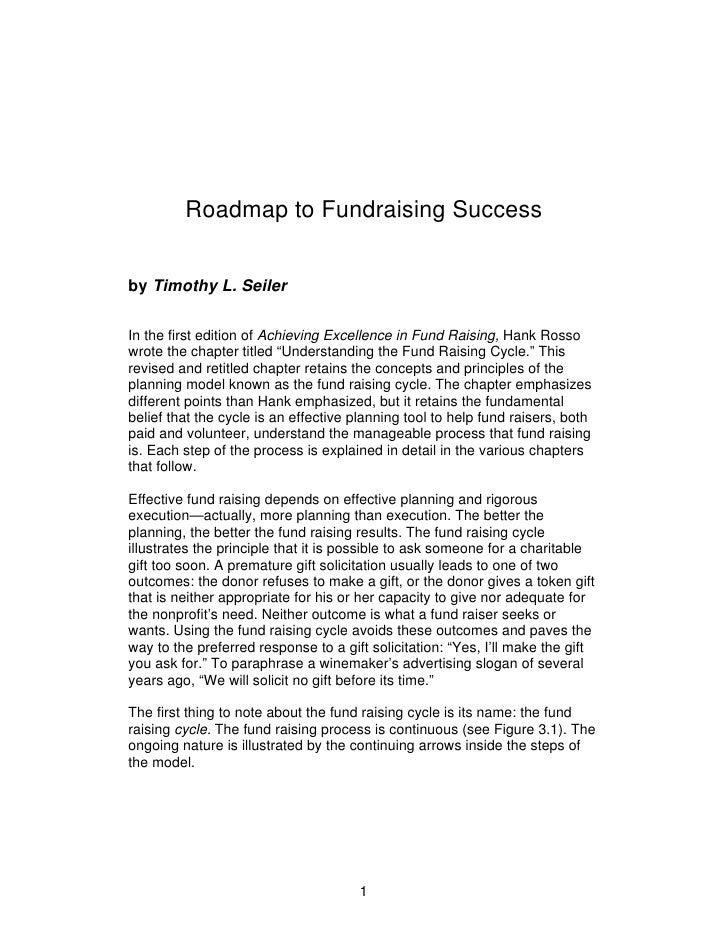 Roadmap to Fundraising Success   by Timothy L. Seiler  In the first edition of Achieving Excellence in Fund Raising, Hank ...