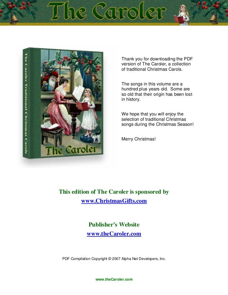 Thank you for downloading the PDF                                  version of The Caroler, a collection                   ...