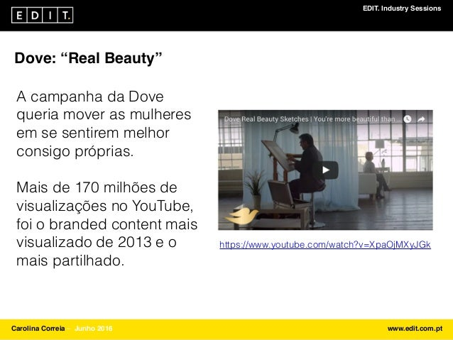"EDIT. Industry Sessions Carolina Correia ⎯ Junho 2016 www.edit.com.pt Dove: ""Real Beauty"" A campanha da Dove queria mover ..."