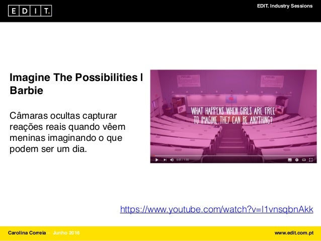 EDIT. Industry Sessions Carolina Correia ⎯ Junho 2016 www.edit.com.pt Imagine The Possibilities   Barbie Câmaras ocultas c...